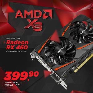 Placa de Vídeo VGA GIGABYTE Radeon RX 460 WINDFORCE OC 2G por R$400