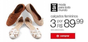 3 calçados femininos (Moleca, Beira Rio, Bebecê e outras) por R$ 90