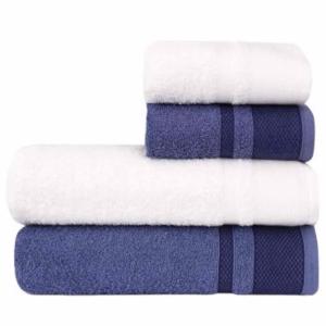 Jogo de Banho 4 Peças Toalha 100% Algodão, 360 g/m² - Linha Casa Urbana, Azul Jeans e Branco - Atlantica por R$ 28