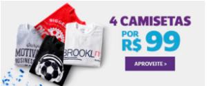 4 CAMISETAS POR R$ 100 NA NETSHOES