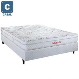 Cama Box Casal Herval + Colchão Atlanta Bambu Mola Bonnel com PillowTop - FRETE GRÁTIS