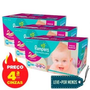 3 Pacotes Fralda Pampers Jumbo Premium Care M/G/XG (Frete Grátis) por R$ 200