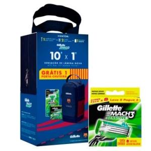 Aparelho Gillette Mach3 Sensitive + 10 Cargas + Porta Chuteira Exclusiva Barcelona - R$69,90