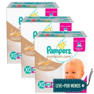 3 Pacotes Fralda Pampers Jumbo Premium Care M/G/XG  por R$ 200