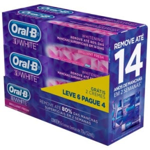 6 Cremes Dentais Oral-B 3D White (Leve 6 Pague 4) - 70g cada