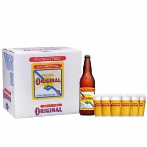 Na compra de 12 Garrafas de Cerveja Original 600ml, Ganhe 6 copos da Original 190ml. por R$ 68