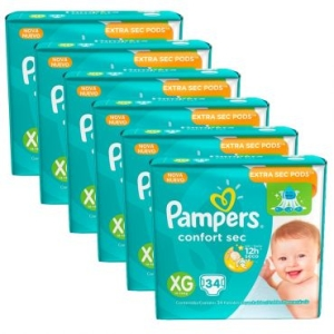 6 Pacotes de Fralda Pampers Confort Sec XG - 204 unidades por R$ 225