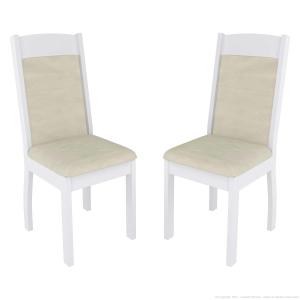 Cadeira Valencia 2 Peças Branco/Bege - Sonetto Móvei por R$ 54