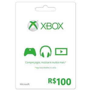 Cartão de Presente - XBOX LIVE (R$100) por R$85,40