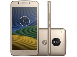 "Smartphone Moto G5 32GB Ouro Dual Chip 4G - Câm. 13MP + Selfie 5MP Tela 5"" Octa Core Desbl"