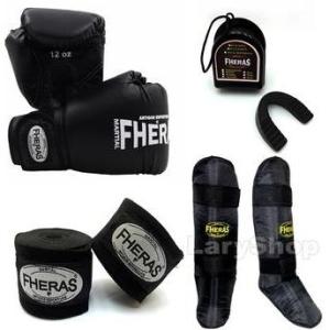 Kit Boxe Muay Thai Fheras Luva Caneleira Bandagem Bucal 14oz Preta R$149,90
