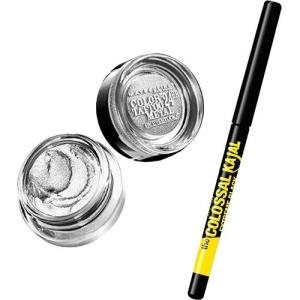Kit Maybelline com Sombra Color Tattoo Metallics Silver Strike + Lápis The Colossal Kajal Extra Black por R$19
