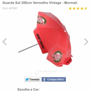 Guarda Sol 200cm Vermelho Vintage - Mormaii por R$ 49