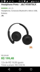 Fone de Ouvido Sem Fio JBL On Ear Headphone Preto - JBLT450BTBLK