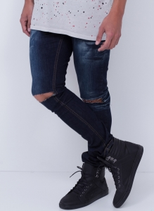 Calça Masculina Skinny Destroyed em Jeans Amassado