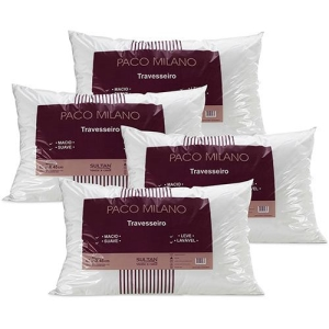 Kit 4 Travesseiros Paco Milano 100% Fibra Siliconada Branco - Sultan por R$ 40