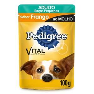 Ração Úmida Pedigree Sachê Vital Pro para Cães  100g + brinde Ração Úmida Dog Chow Sabor Carne para Cães por 1,79