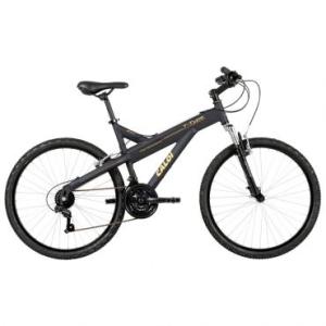 Bicicleta Caloi T-Type, Aro 26, 21 marchas, Quadro em alumínio, Suspensão Dianteira, Câmbio Shimano, Preta