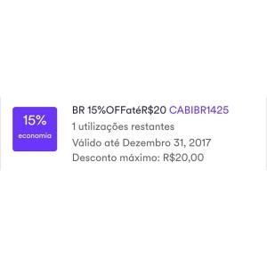 [CABIFY] 15% OFF até R$ 20 em uma corrida