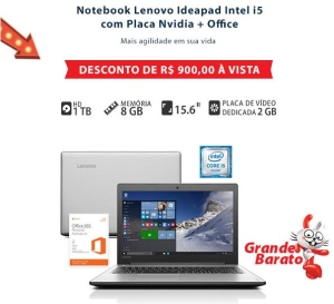 "Notebook Lenovo, Intel Core i5, 8GB, 1TB, 15,6"", Ideapad 310 com Placa de Vídeo da NVidia"