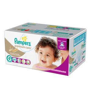 Fraldas Pampers G Premium Care Hiper - 60 Unidades