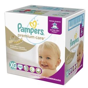 Fraldas Pampers XG Premium Care Hiper - 48 Unidades