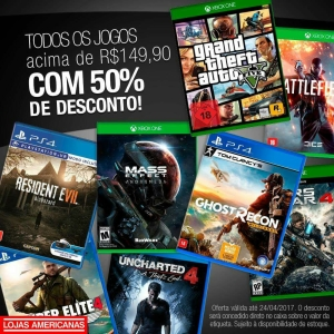 [Lojas Fisicas]Games PS4 e XBOX ONE acima de R$149,90 com 50% de desconto