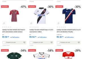Camisa Torcedor (diversos clubes do Brasil)  a partir de R$40