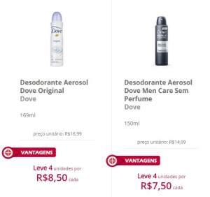 Desodorante Dove 4 unidades por R$7,50 cada (Masculino)