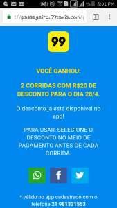 cupom desconto 99 taxis- 2 corridas de 20$ pra amanha 28/04