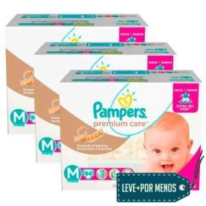 Leve Mais e Pague Menos: 3 Pacotes Fralda Pampers Jumbo Premium Care - R$198