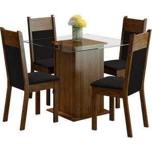 Conjunto de Mesa de Jantar Isis Rustic com 4 Cadeiras Isis Rustic/Preto - 399,99