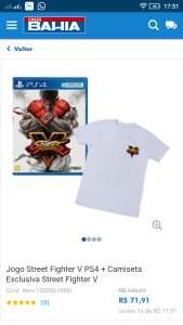 Street Fighter V + Camisa por R$72