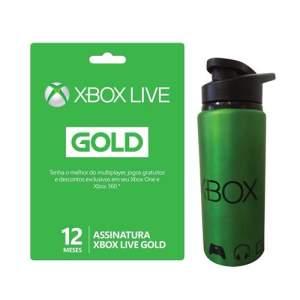 Xbox Live Gold 12 Meses + Squeeze de Metal Microsoft Xbox - R$150