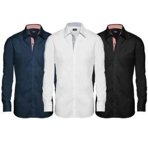 Kit 3 Camisas Sociais Slim Fit Masculina- Branca/ Preta/ Azul Marinho- Bipai