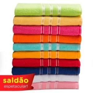 Jogo de Banho 10 Peças Toalhas 100% Algodão 290 g/m² Ultra Absorvente por R$ 90