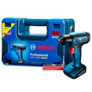 Parafusadeira e Furadeira 12V GSR1000 Smart Com Maleta + Kit Com 11 Acessórios - Bosch por R$ 170