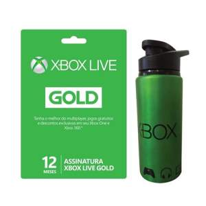 Xbox Live Gold 12 Meses + Squeeze de Metal R$135