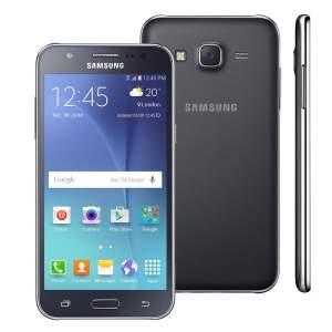"""Smartphone Samsung Galaxy J5 Duos Preto com Dual chip, Tela 5.0"""", 4G, Câmera 13MP, Android 5.1 e Processador Quad Core de 1.2 Ghz por R$ 675"""