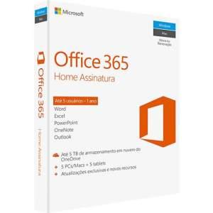 Microsoft Office 365 Home: 5 Licenças (PC, Mac, Android e IOS) + 1 TB de HD virtual para cada licença - R$130
