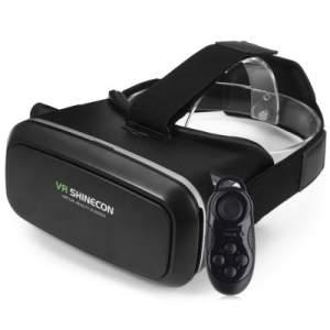 VR SHINECON 3D VR Glasses with B100 Remote Control  - BLACK- R$47,38
