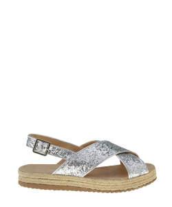 Sandália Flatform com brilho prateada R$36