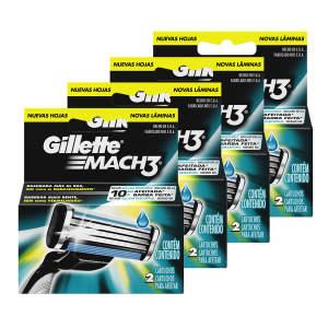 Kit com 4 Cargas Gillette Mach 3 com 8 unidades por R$ 30