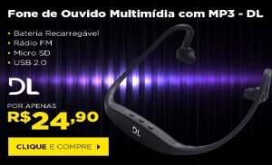 Fone de Ouvido sem Fio com Mp3 Embutido, Rádio FM, Bateria com duração de 4hs e USB 2.0 + Cabo USB R$ 24,90