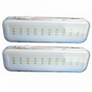 Kit 02 Luminárias de Emergência Autonomia de até 6 horas, 30 LEDs Bivolt DNI R$ 44