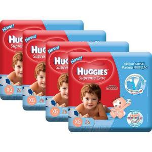 Kit 4 Fraldas Huggies Supreme Care Mega (vários tamanhos) - R$ 96