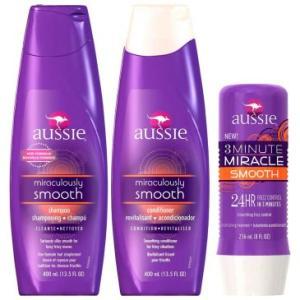 Kit Completo Aussie Smooth para Controle de Frizz: 1 Shampoo 400ml + 1 Condicionador 400ml + 1 Tratamento de 3 Minutes Miracle 236ml - R$60