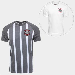 Kit Camisa Corinthians Retrô + Camisa Corinthians Réplica 1979 - Cinza e Branco por R$ 100