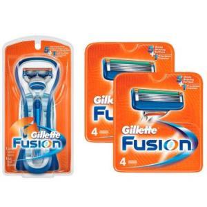 1 Aparelho de Barbear Gillette Fusion + 9 Cargas Gillette Fusion - R$ 70