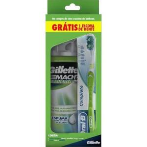 Espuma de Barbear Mach 3 Sensitive 250ml  - Grátis Escova dental Oral-B Complete R$ 13